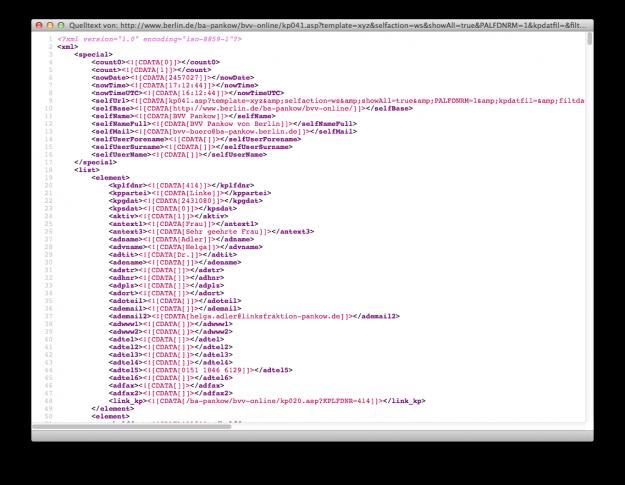 Eine typische XML-Ausgabe, hier aus dem Berliner Bezirk Pankow.