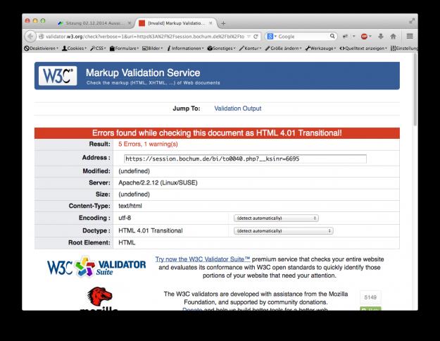 Typische HTML-Fehler in einem Ratsinformationssystem.